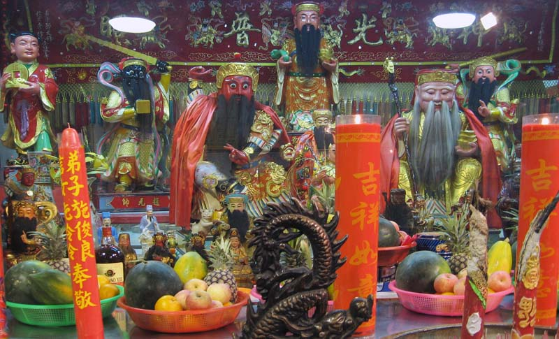 Fruits and incense for the saints.