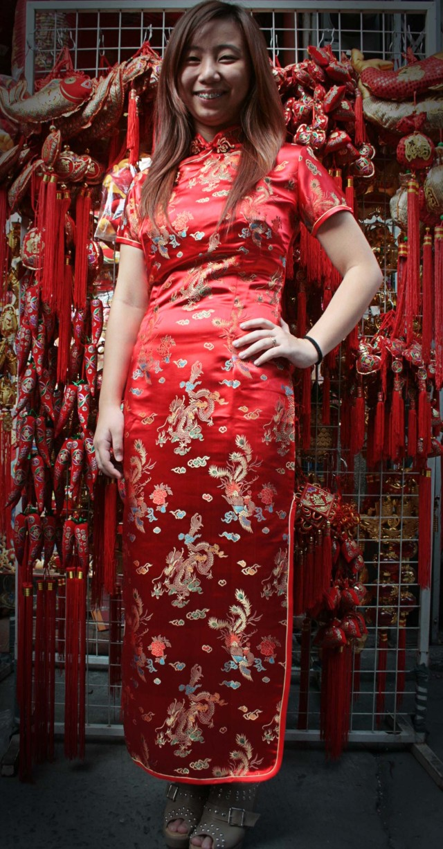 True blue Filipino-Chinese damsel in red qipao.