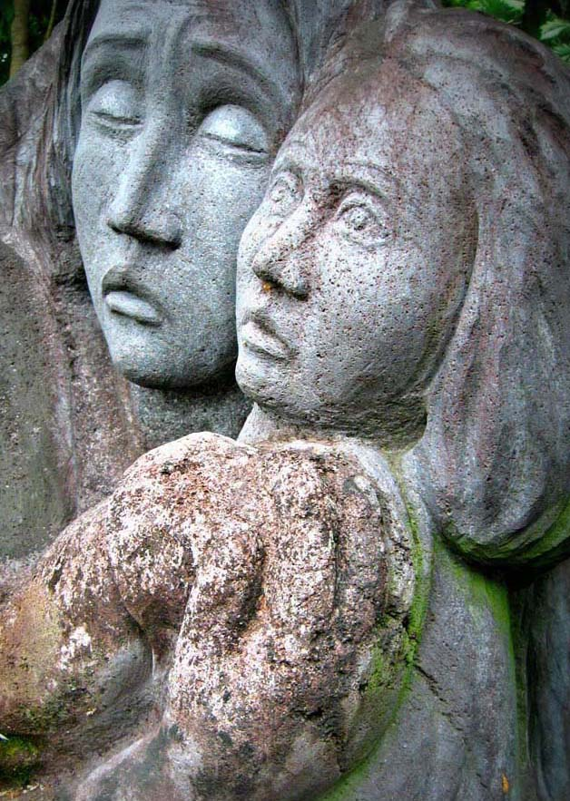 Volcanic rock carving at the Camp Simeon Ola, Legazpi City