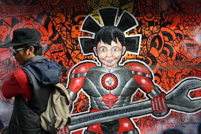 Street Art Manila, by Elmer Valenzuela,TUP walls, Ayala Boulevard