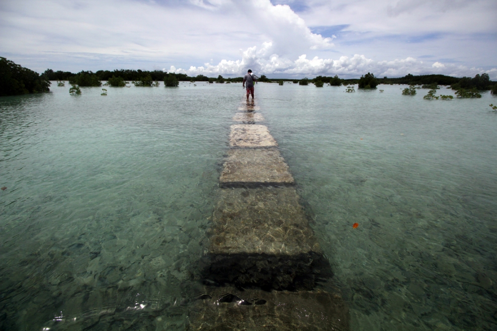 A visitor makes his way through the footway of Olango Island Observation deck