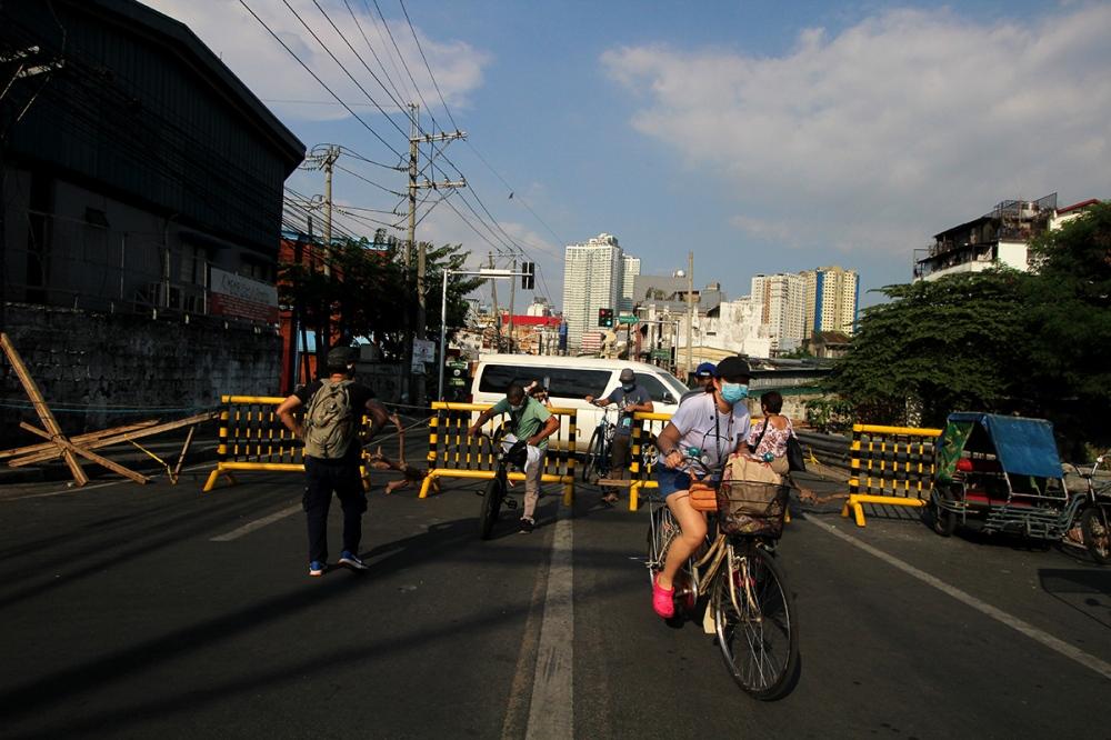 Bikers on a street